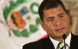 Ecuadorean president Correa said foreign ministers will meet in Montevideo to prepare the presidential summit