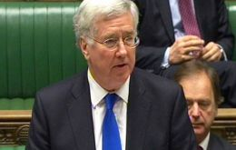 """Our forces in the South Atlantic are... at the level required for defense of the Falkland Islands against any potential threat"", said Defense Secretary Fallon"