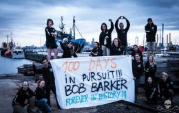 For the past 100 days Sea Shepherd's flagship the Bob Barker has been chasing a poacher caught taking Patagonian toothfish from Australian territorial waters (Pic FB)