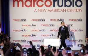 Rubio held the launch event at Miami's Freedom Tower, a landmark known as the entry point for processing Cuban refugees coming to the United States.