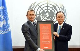 Secretary-General Ban Ki-moon appoints actor Daniel Craig as the first UN Global Advocate for the Elimination of Mines and Explosive Hazards.