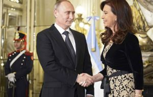 Cristina Fernandez hosts President Putin at Government House last July when met following the Russian leaders' tour of Latin America