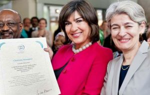 Director-General Irina Bokova with Christiane Amanpour,(L) named Goodwill Ambassador for Freedom of Expression and Journalist Safety. (Photo: UNESCO)