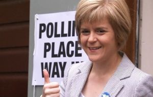 """This election was not about another referendum. We will in the House of Commons vote against an in/out EU referendum, if there is going to be one"" said Sturgeon."