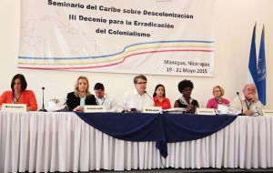 Members of the Pre-24 committee that is holding a preparatory round of talks in Managua