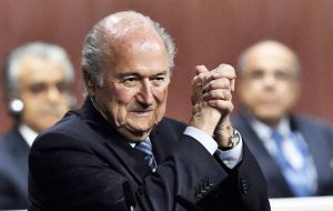 "In a victory speech, Blatter declared: ""Let's go FIFA, let's go FIFA,"" to a standing ovation."