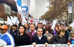 Monday's march marked the first day of the teachers' strike demanding changes in key aspects of a bill reforming the education system promoted by Bachelet