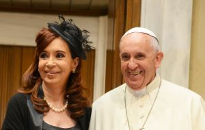 """I had with Pope Francis a very warm encounter, as always, in which we talked about a lot of issues, the regional issue, world peace,"" Cristina told reporters"