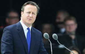 Prime Minister David Cameron delivering his speech at Runnymede, Surrey