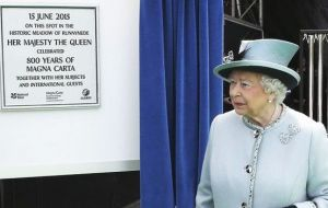 "The Queen did not give a speech but wrote in the program for the celebration that the Magna Carta's principles were ""significant and enduring"""