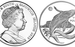 The design on the reverse features an image of a humpback whale breaching the Antarctic waters. The obverse features an effigy of HM Queen Elizabeth II