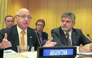 Argentina's delegation claiming sovereignty over the Falklands before C24 is headed by foreign minister Timerman and Falklands Desk chief Filmus