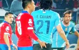 The controversial incident between Chile'a Jara and Uruguay's striker Edison Cavani