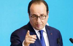 "French President Francois Hollande said ""what's at stake ... knows whether the Greeks want to stay within the Euro zone"