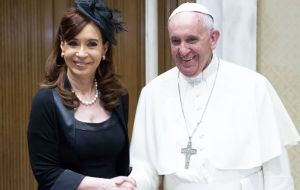 The Pope and Cristina Fernández last private meeting was on 7 June in Rome. CFK said they discussed world hunger and politics, but not Argentine issues.