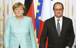 In Paris Merkel and Hollande said Athens must move quickly if it wants to secure a cash-for-reform deal with international creditors (Pic AFP)