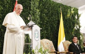 "But Paraguay must banish the temptation to be satisfied with a purely formal democracy"" said the Pope in his main address next to Horacio Cartes"