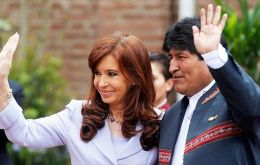 Bolivia's Evo Morales with a close friend, Argentine president Cristina Fernandez , during his recent visit to Buenos Aires