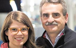 Delfina Rossi with her father Argentina's Defense Minister Agustin Rossi,