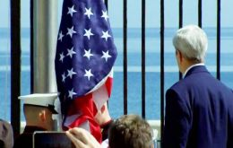 The first US secretary of state to visit the Caribbean island in 70 years, Kerry presided over a ceremony raising the US flag over the newly reopened embassy.