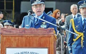 Brigadier General Miguel Callejos during the 103rd anniversary of the Argentine Air Force