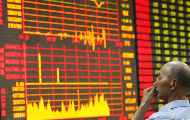 The benchmark Shanghai Composite opened down 2.7% at 3,646.75 points on Wednesday before sliding further to register a 5% loss by mid-morning.