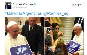 Cristina has persistently lobbied the Pope to intervene on Argentina's behalf but the Vatican has been clear it doesn't wish to get involved in the dispute.