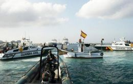 Spain has acknowledged that shots were fired but insists that its officers were acting lawfully in waters considered Spanish by Madrid. (Pic Reuters)