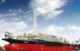 Moored 240km off Rio at a water depth of 2,240 meters, the FPSO is capable of processing  150,000bopd and 280 MM standard cubic feet of gas per day