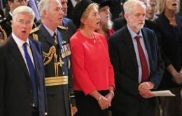 "A spokesman said Corbyn had ""stood in respectful silence; Jeremy attended today's event to show respect for those who fought in conflicts for Britain""."