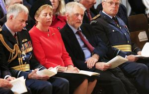 Corbyn sat next to RAF senior members, including ACM Sir Andrew Pulford, and other politicians, PM David Cameron and Defence Secretary Fallon.