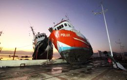 In Coquimbo, a port 450km north of Santiago, fishing vessels and shipping containers could be seen strewn around the city's downtown area.