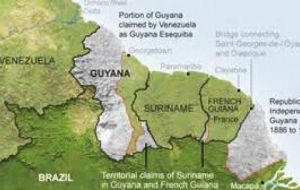 Venezuela has been laying claim to the vast mineral-rich area of jungle west of the Essequibo River, which accounts for about 40% of Guyana's territory.