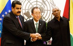 Maduro and Guyanese President Granger met for the first time in New York in talks mediated by U.N. Secretary-General Ban Ki-moon