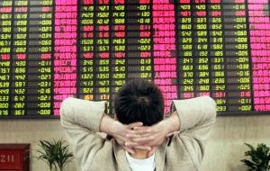 The Shanghai Composite was down 1.1% at 3,065.38, while Hong Kong's Hang Seng index was down 3.2% at 20,504.23. The market was closed on Monday.