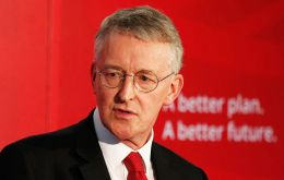 "At a reception, Hilary Benn said: ""I am the shadow foreign secretary… as far as I'm concerned, we believe in self determination for the Falkland Islands"". (Pic AP)"