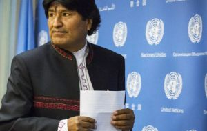 "Bolivia's Evo Morales said that the Malvinas are ""Argentina and Latin American"" and must be returned to Argentina"