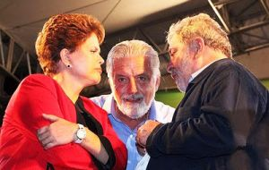 Lula da Silva, is reasserting his sway by placing a confidant, Jaques Wagner (C), as Ms. Rousseff's chief of staff.