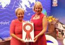 Rosie Winterton MP visited the Falklands' stand to present the award. In the picture next to FIGO representative Sukey Cameron