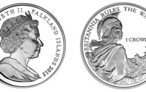 The coin produced on behalf of the Falklands' Treasury includes a representation of Britannia, the female personification of the British Isles