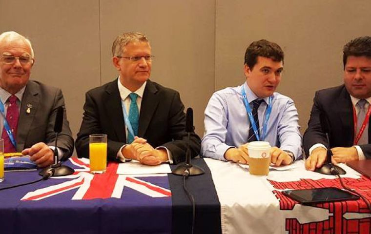 The panel consisted of Falklands MLA Roger Edwards, Andrew Rosindell, MP,  Philip Smith of FOTBOT, and Fabian Picardo, Chief Minister of Gibraltar.
