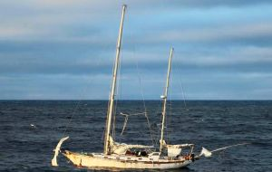 La Sanmartiniana was towed to Stanley by Falklands Patrol Vessel Protegat late last week and is now under the jurisdiction of Receiver of Wrecks Mick Floyd (photo A Henry)
