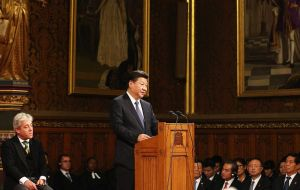 "Addressing peers and MPs in Westminster, Xi said that, although his visit had just started, he was ""deeply impressed by the vitality of China-UK relations""."