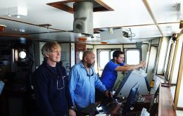Mensun Bound and captain Roger White on the bridge of RSV Endeavour. The 104 day search was much conditioned by the frustrating bad weather