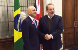 JETCO meeting was headed by Sajid Javid, UK Secretary of State for Business, Innovation and Skills, and his Brazil counterpart Armando Monteiro (L)