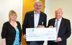 Overseas Games Association Chairman Mike Summers receives a cheque from Argos Ltd Directors Sheila Stewart and Ian Thomson