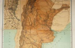 Original version of the Latzina map of 1882, the first official Argentine map produced after the Boundary Treaty of 1881