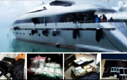 Dominican narcotics police raided the yacht at La Romana marina where apparently cocaine was found which led to the arrest of six persons