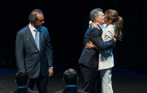 """Juliana was the winner with her kiss...it was the best of the debate"" said Massa in reference to Awada, who is Macri's wife"
