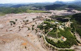 The mud wave destroyed homes in Minas Gerais, contaminated the Rio Doce river and threatens drinking water and wildlife in next door Espirito Santo